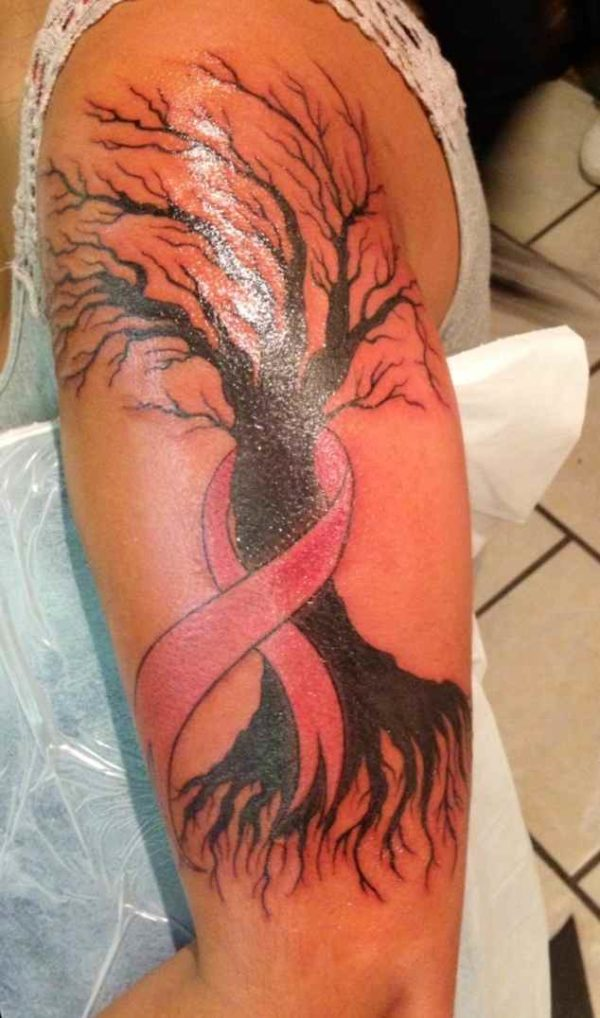 Breast cancer tree tattoo