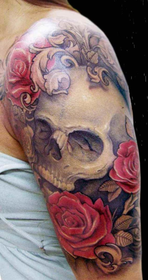 Skull tattoo sleeve ideas for women
