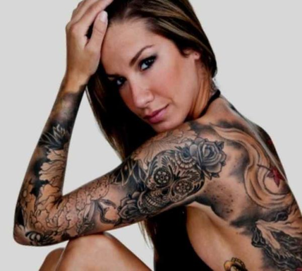 Tattoo sleeve for women black and white