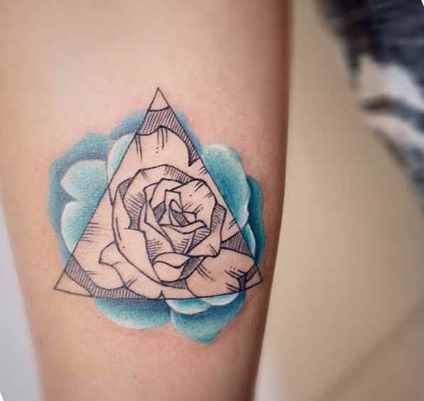 Cute meaningful tattoo Flowers in a triangle