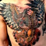 Men Chest With Big Owl Bird Tattoo