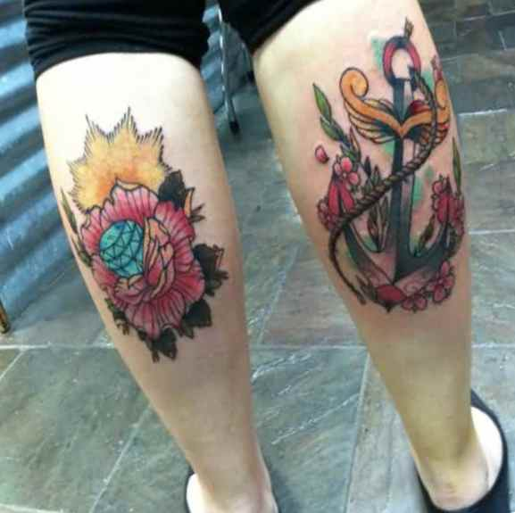 Tattoo on leg - diamond and anchor