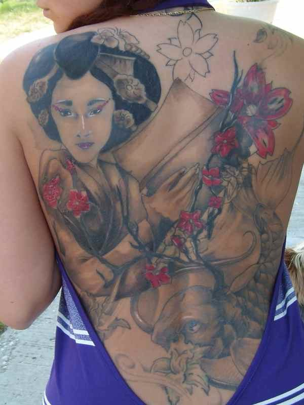 Back geisha tattoo