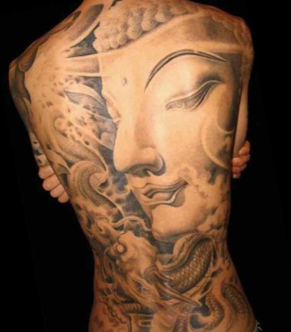 Buddha tattoo girls back
