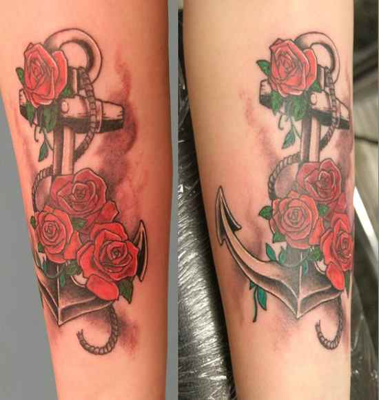Calf tattoo anchor hope