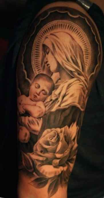 Christian tattos for men Virgin Mary