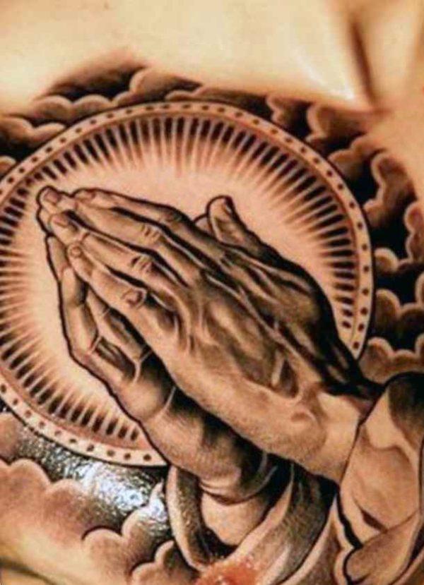 Chritian praying hands tattoos for men