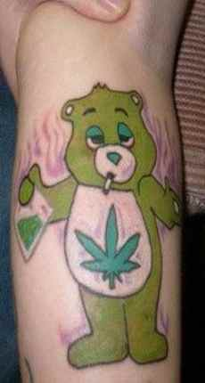 Cute calf tattoo care bare smokin weed