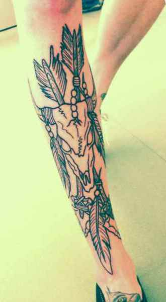 Cute calf tattoo for girls