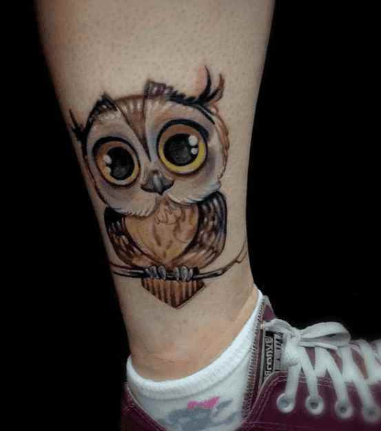Cute calf tattoo owl