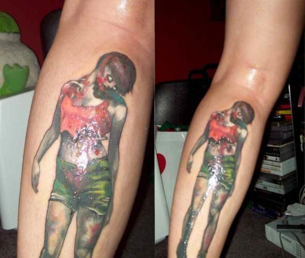 Cute zombie girl calf tattoo