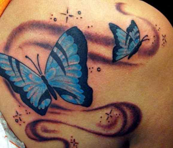Feminine tattoos with butterflies