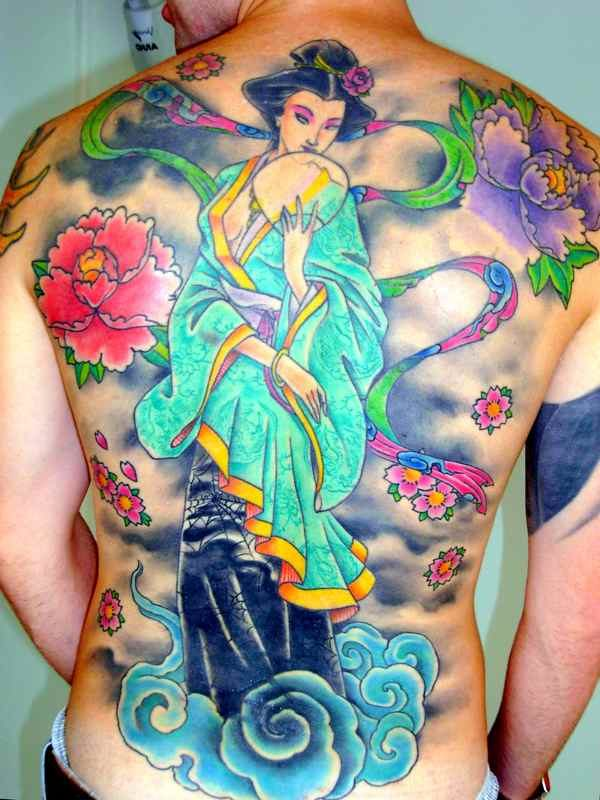 Full back geisha tattoo