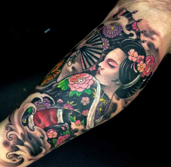 Geisha tattoo calf