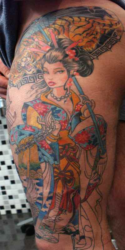 Geisha tattoo for men