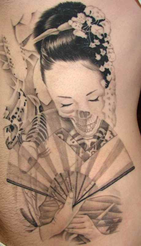 Geisha tattoo with fan