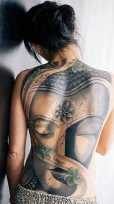 Girls back buddha tattoo
