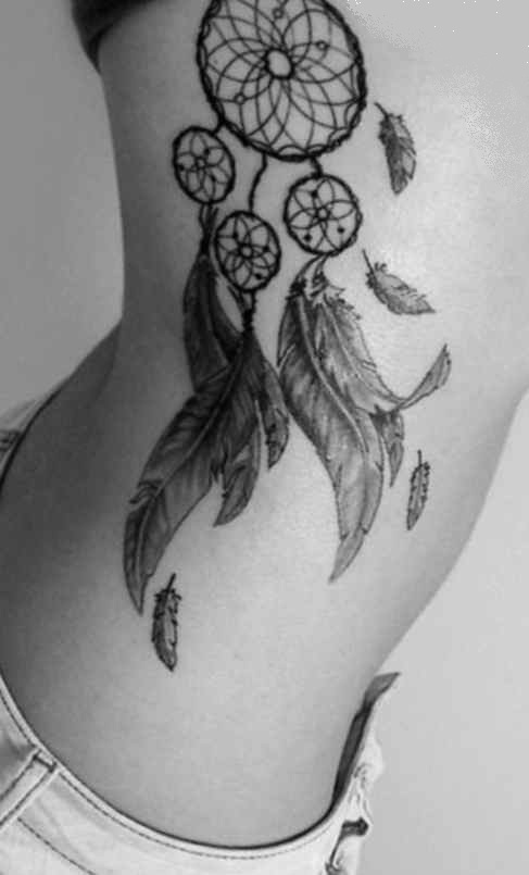 Side dreamcatcher tattoo