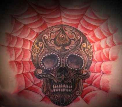 Spider web tattoo skull