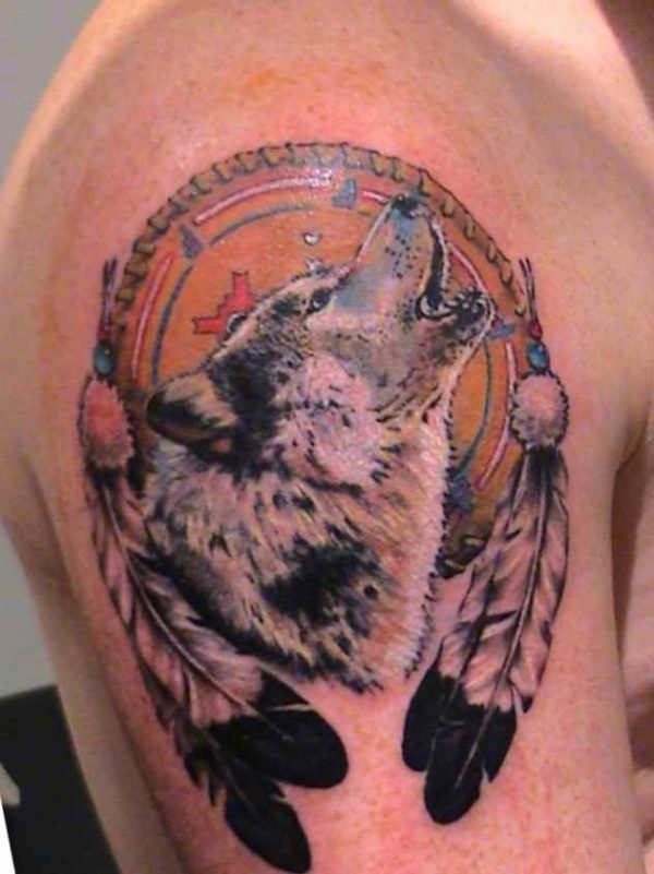Wolf dreamcatcher tattoo meaning