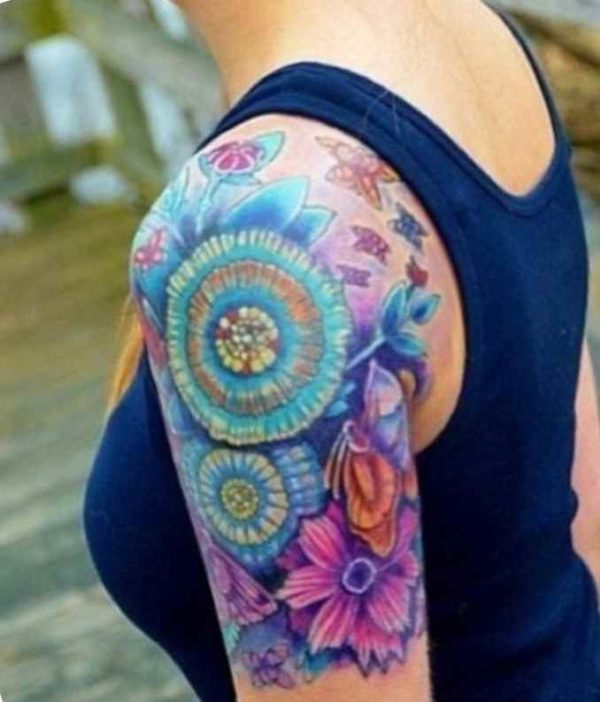 Colorful tattoo sleeve ideas for women