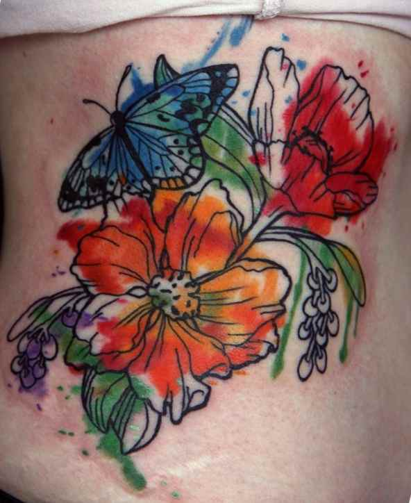 Rainbow butterfly tattoo