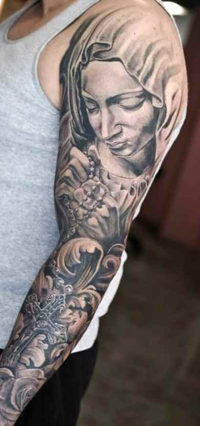 Religious tattoo sleeve ideas black and grey