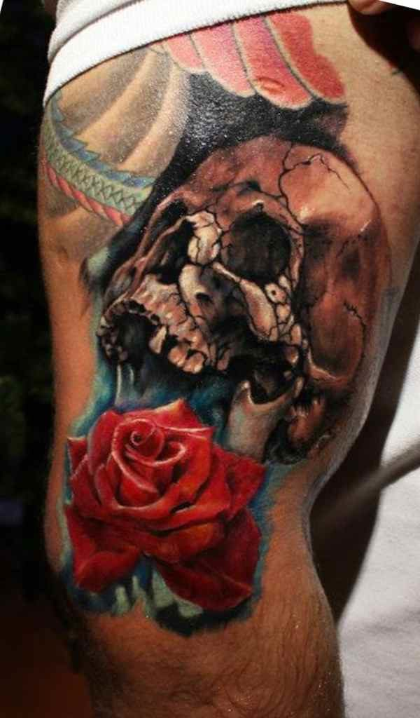 Skull & rose tattoo