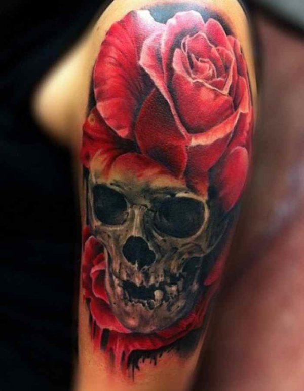Skull blood and rose tattoo
