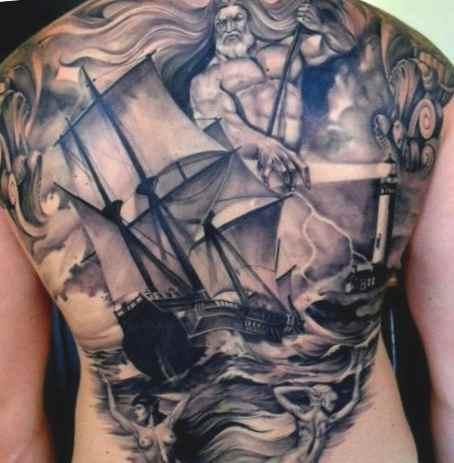 Traditional pirate ship tattoo
