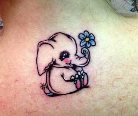 Cute little baby elephant-tattoo