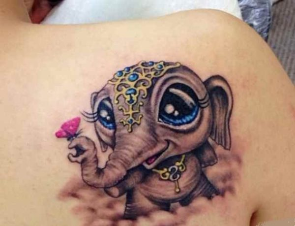Cute baby elephant tattoo