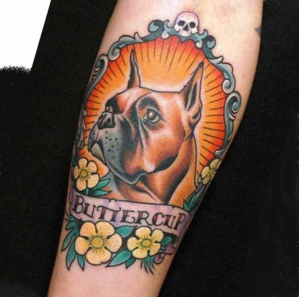 Angry small dog tattoo