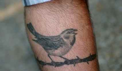Bird on fence ankle tattoo