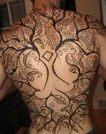 Tattoo henna on the back of a guy