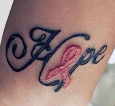 Breast cancer ribbon tattoo template