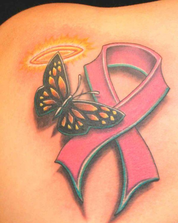 Breast cancer ribbon temporary tattoo