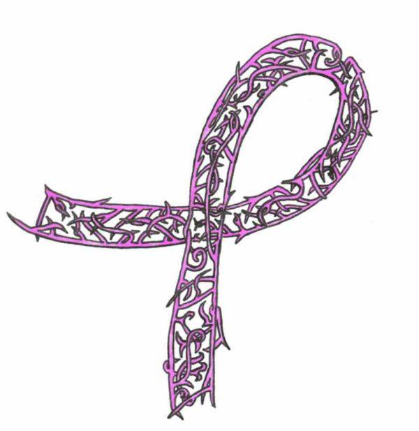 Cancer ribbon tattoo stencil