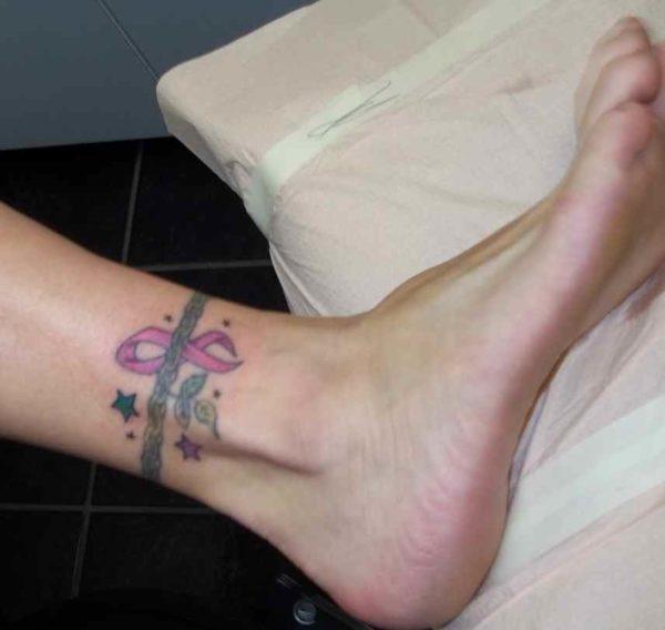 Cancer ribbon tattoo ankle bracelet pattern