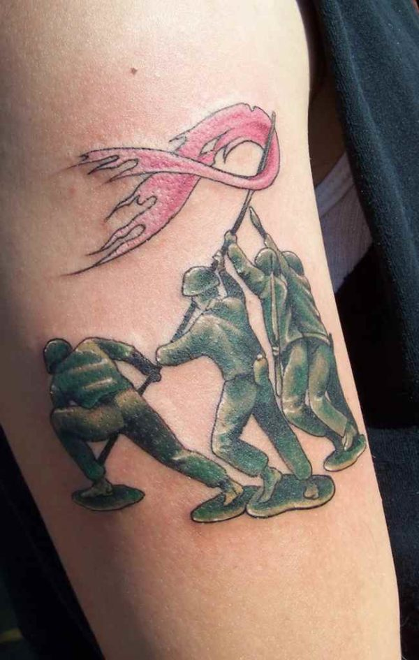Cancer ribbon tattoo for men
