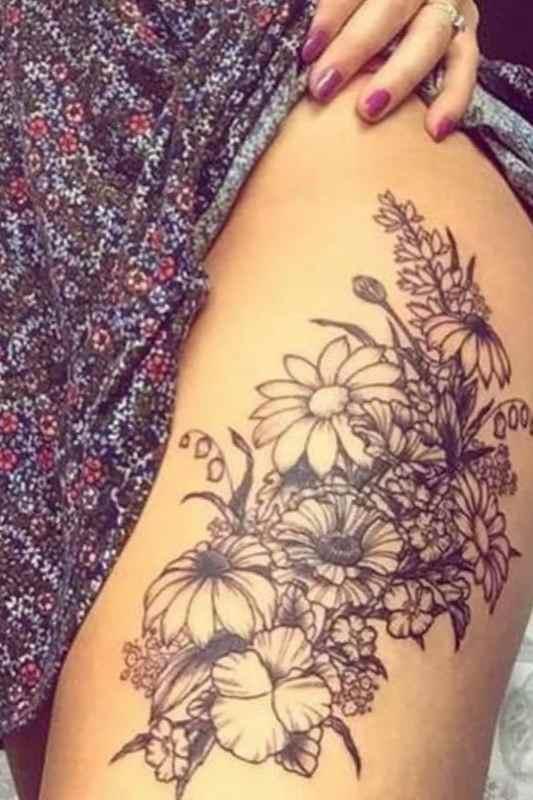Flower tattoo designs thigh