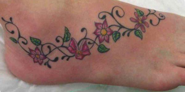 Flower vine tattoo designs foot