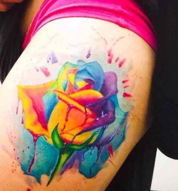 Rainbow flower tattoo designs