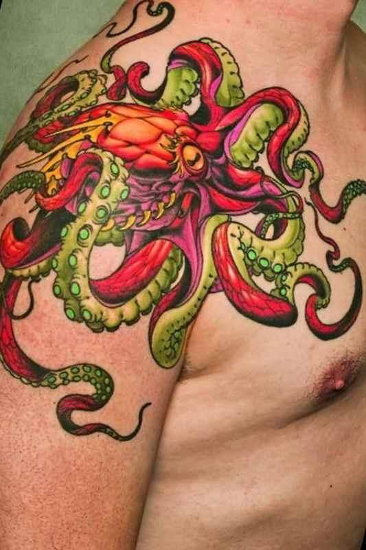 Simple looking octopus tattoo