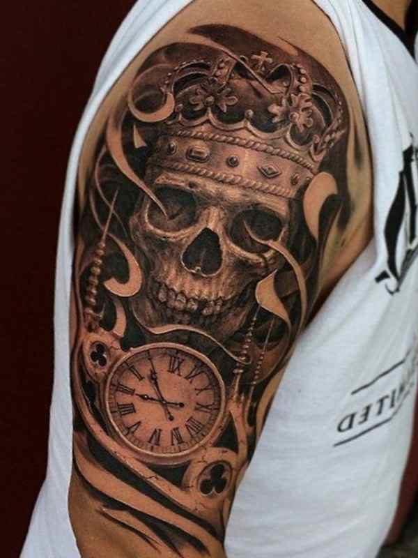 Skull and smoke sleeve tattoos