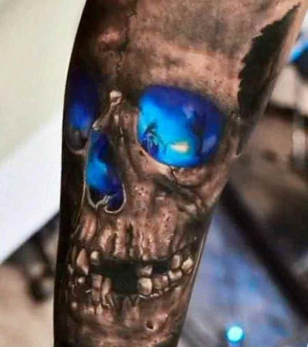 Skull arm sleeve tattoo design