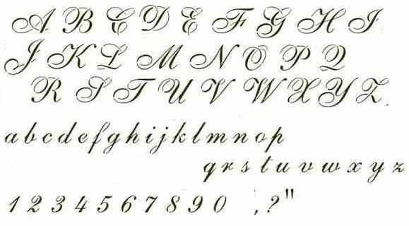 Tattoo lettering cursive alphabet