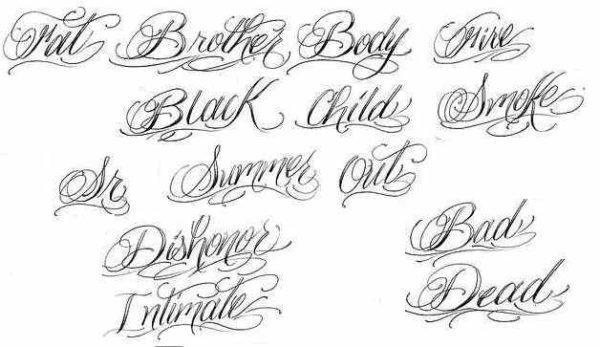 Tattoo lettering cursives
