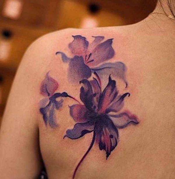 Violet flower tattoo designs