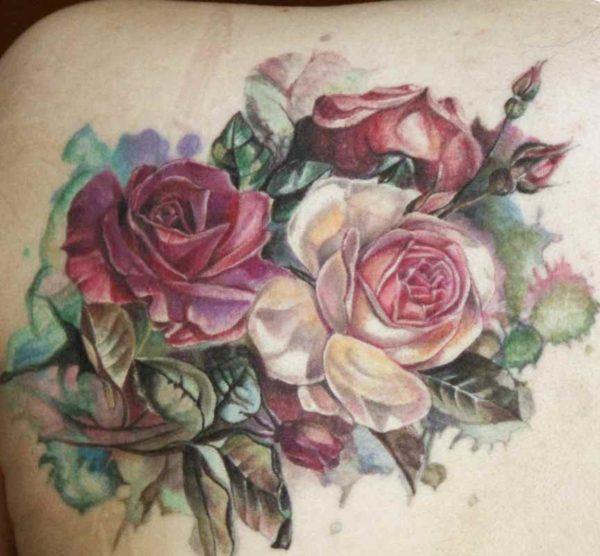 Big tattoo of flowers